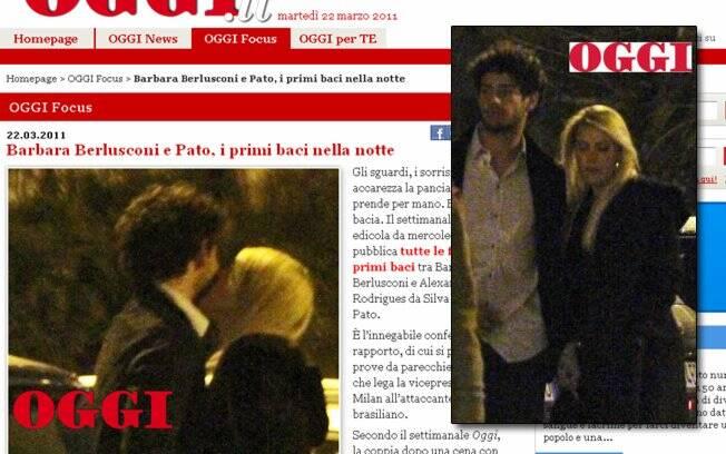 Alexandre Pato e Silvia Berlusconi se beijam em um estacionamento, em Milão
