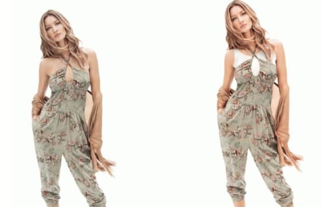 Gisele Bundchen para campanha da H&M. De um lado a foto original, do outro encoberta para Dubai