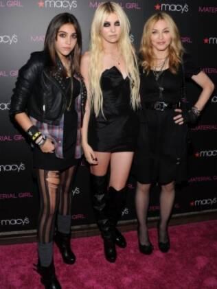 Lourdes Maria, Taylor Momsen e Madonna no lançamento da marca Material Girl