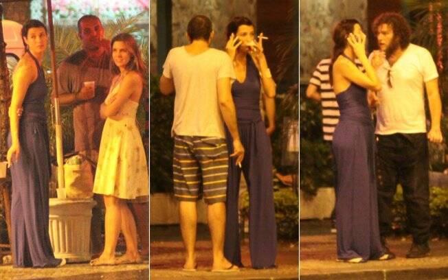 Luana Piovani bate papo com amigos e avista o ex