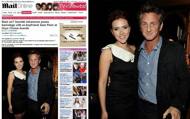 O ex-casal Scarlett Johansson e Sean Penn posam juntos durante a premiação
