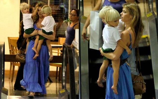 Fernanda Lima com os filhos João e Francisco